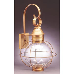 Onion Antique Brass One-Light Outdoor Wall Light with Clear Glass