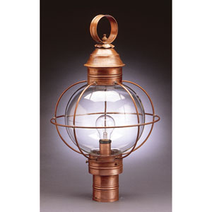 Onion Antique Brass One-Light 13-Inch Outdoor Post Mount with Clear Glass