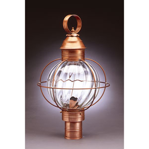 Onion Antique Copper 13-Inch One-Light Outdoor Post Mount with Optic Glass