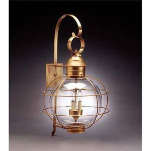 Antique Brass Outdoor Caged 12-Inch Wall Lantern