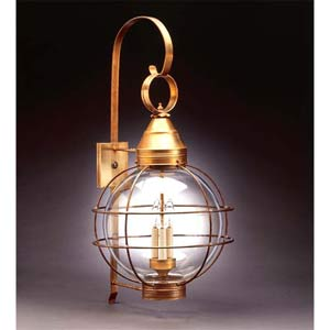 Antique Brass Outdoor Caged 14-Inch Wall Lantern