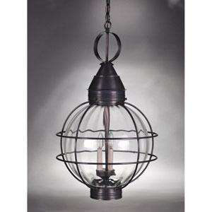Onion Dark Brass Three-Light Outdoor Pendant with Optic Glass