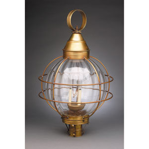 Onion Antique Brass Three-Light Outdoor Post Mount with Optic Glass