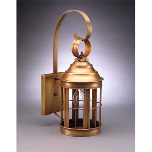 Small Antique Brass Heal Wall Lantern
