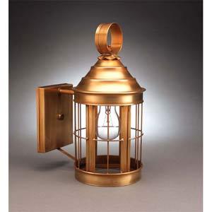 Antique Brass Heal No-Scroll Outdoor Wall Lantern
