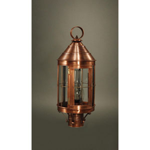 Heal Antique Copper One-Light Outdoor Post Mount with Chimney Clear Glass