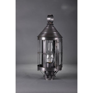 Heal Dark Brass One-Light Outdoor Post Mount with Chimney Clear Glass