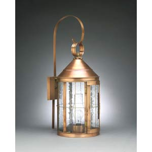 Large Antique Brass Heal Outdoor Wall Lantern with Clear Seedy Glass