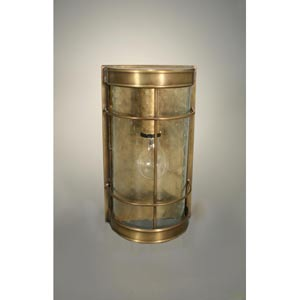 Nautical Antique Brass One-Light Sconce with Clear Seedy Glass