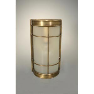 Nautical Antique Brass One-Light Sconce with Frosted Glass