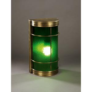 Nautical Antique Brass One-Light Sconce with Green Glass