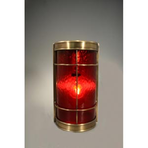 Nautical Antique Brass One-Light Sconce with Red Glass