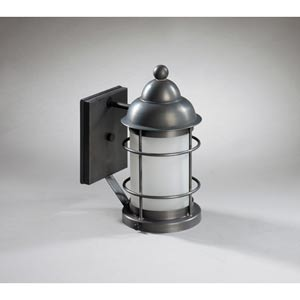 Nautical Dark Antique Brass One-Light Outdoor Wall Light with Frosted Glass