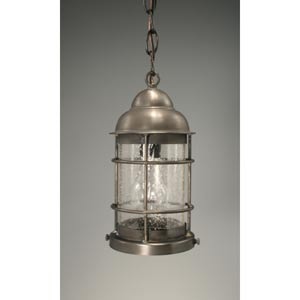 Nautical Dark Brass One-Light Outdoor Pendant with Clear Seedy Glass