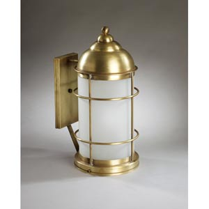 Nautical Antique Brass One-Light Outdoor Wall Light with Frosted Glass