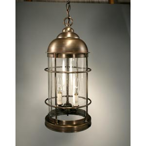 Nautical Dark Antique Brass Two-Light Outdoor Pendant with Clear Seedy Glass