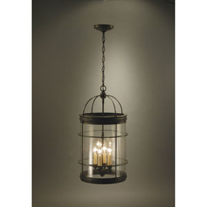 Dark Brass Four-Light Chandelier with Clear Seedy Glass