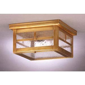 Small Antique Brass Williams Mission Ceiling Light with Seedy Marine Glass