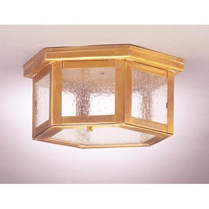 Williams Antique Brass One-Light Outdoor Flush Mount with Seedy Marine Glass