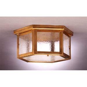 Medium Antique Brass Hexagon Ceiling Light with Seedy Marine Glass