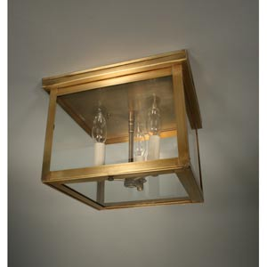 Williams Dark Antique Brass Three-Light Outdoor Flush Mount with Clear Glass