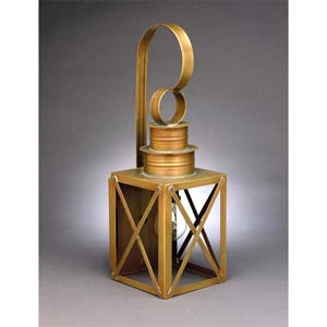 Medium Antique Brass X-Bar Outdoor Wall Lantern