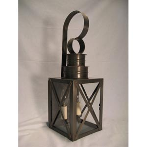 Suffolk Dark Antique Brass Two-Light Outdoor Wall Light with Clear Glass