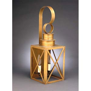 Medium Antique Brass Two-Light X-Bar Wall Lantern
