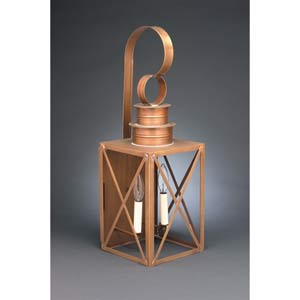 Large Antique Brass Two-Light X-Bar Wall Lantern