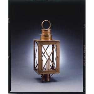 Suffolk Antique Brass Three-Light Outdoor Post Light with Clear Glass