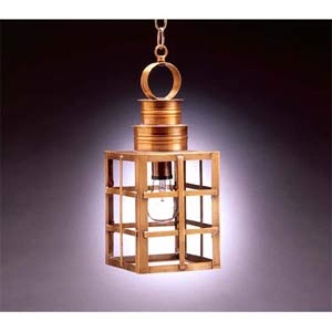 Medium Antique Brass H-Bars Outdoor Hanging Lantern