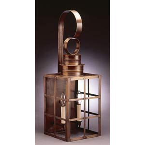 Large Dark Antique Brass H-Bars Outdoor Wall Lantern