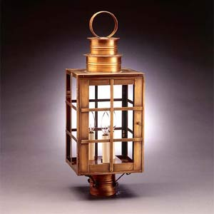 Large Antique Brass H-Bars Post-Mount Lantern