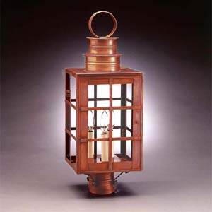 Large Antique Copper H-Bars Post-Mount Lantern