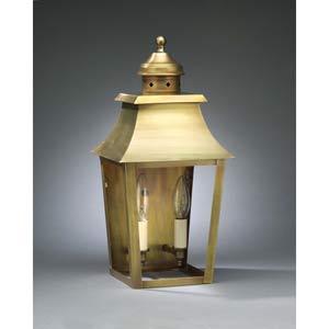 Small Antique Brass Pagoda Outdoor Wall Lantern