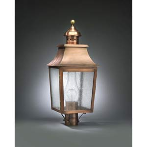 Medium Antique Copper Pagoda Post-Mount Lantern with Seedy Marine Glass
