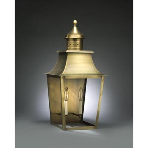 Sharon Antique Brass Two-Light Outdoor Wall Light with Clear Glass