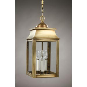 Concord Antique Brass Three-Light Outdoor Pendant with Clear Glass