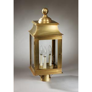 Concord Antique Brass Three-Light Outdoor Post Light with Clear Glass