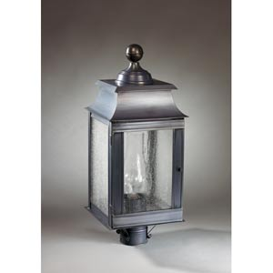 Concord Dark Brass One-Light Outdoor Post Light with Seedy Marine Glass