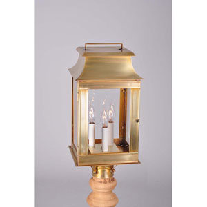 Concord Antique Brass 9.5-Inch Three-Light Outdoor Post Mount with Clear Glass