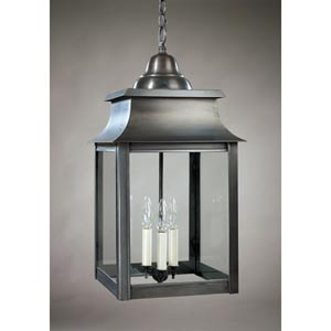 Concord Dark Brass Three-Light Outdoor Pendant with Clear Glass