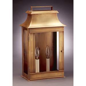 Pagoda Dark Brass Wide Two-Light Outdoor Wall Lantern
