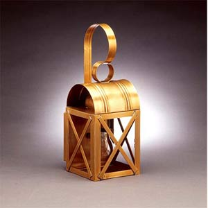 Small Antique Brass X-Bar Wall Mount Lantern