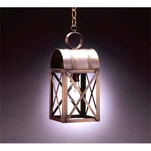 Large Dark Antique Brass X-Bar Hanging Lantern