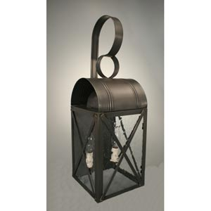 Adams Dark Brass Two-Light Outdoor Wall Light with Clear Seedy Glass