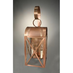 Adams Dark Brass Two-Light Outdoor Wall Light with Clear Glass