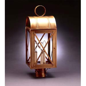 Large Antique Brass X-Bar Post-Mount Lantern