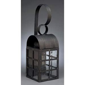 Medium Dark Brass Adams Outdoor Wall Lantern with Clear Seedy Glass
