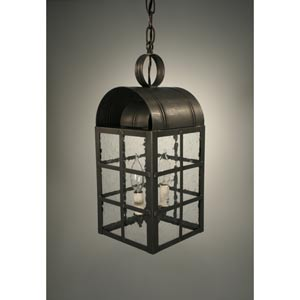 Adams Antique Copper Two-Light Outdoor Pendant with Clear Seedy Glass